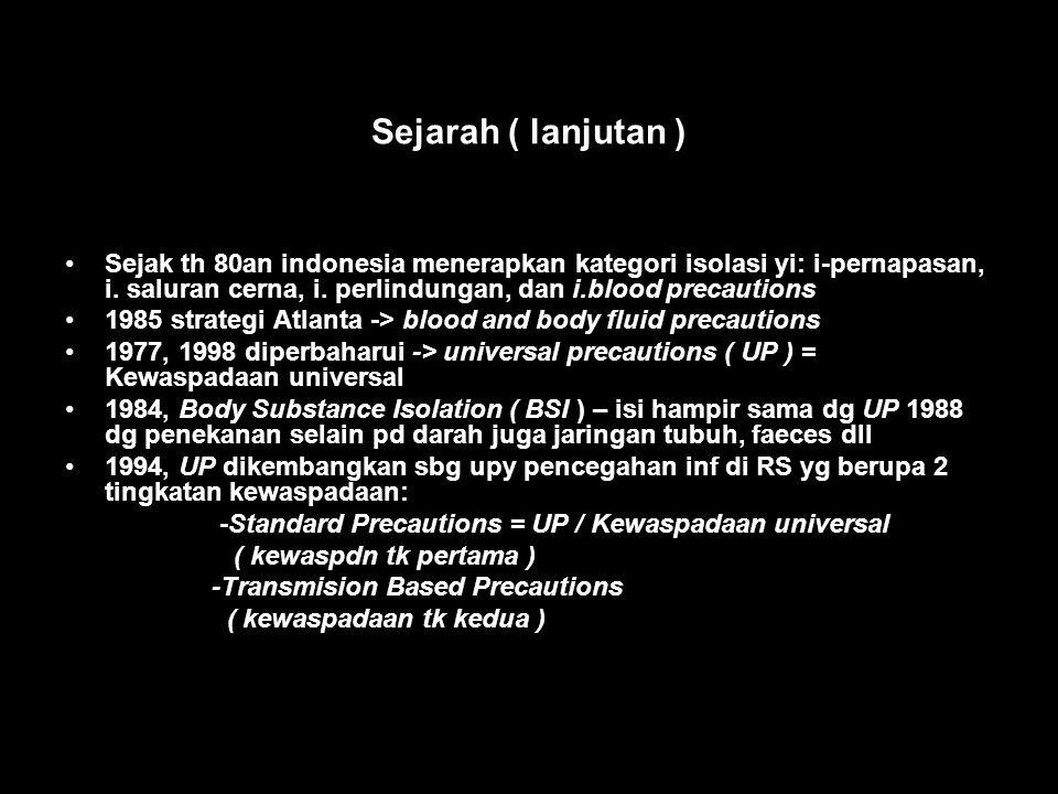 Sejarah ( lanjutan ) Sejak th 80an indonesia menerapkan kategori isolasi yi: i-pernapasan, i. saluran cerna, i. perlindungan, dan i.blood precautions.