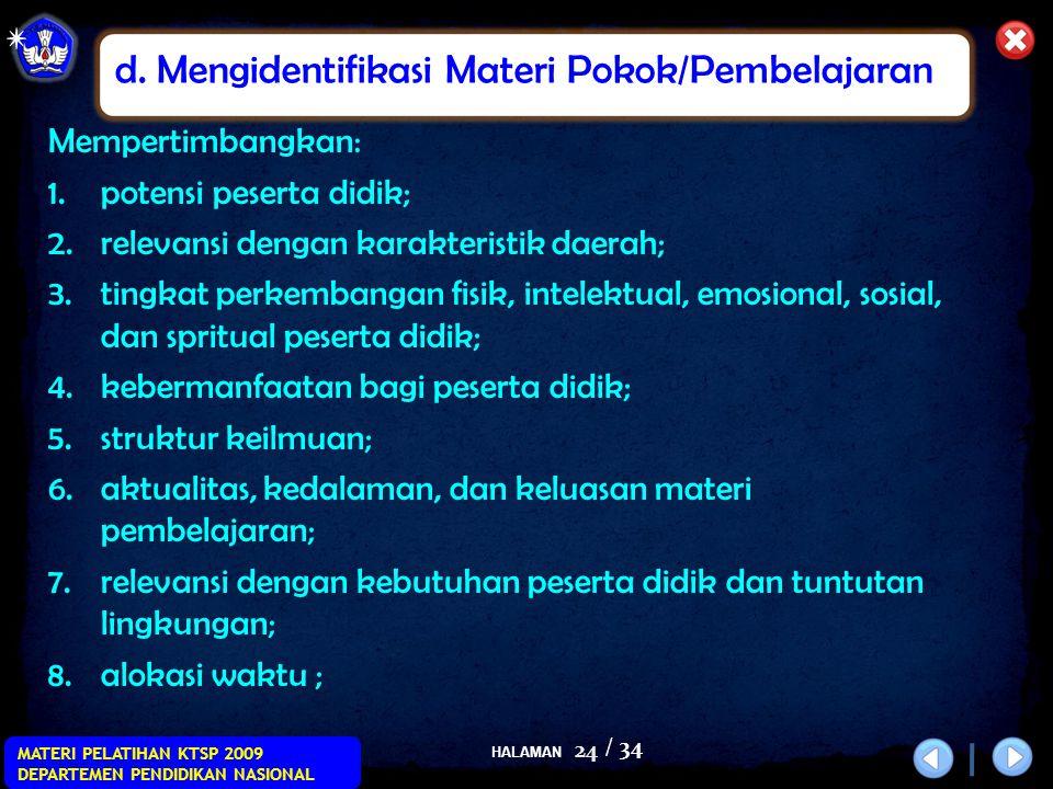 d. Mengidentifikasi Materi Pokok/Pembelajaran