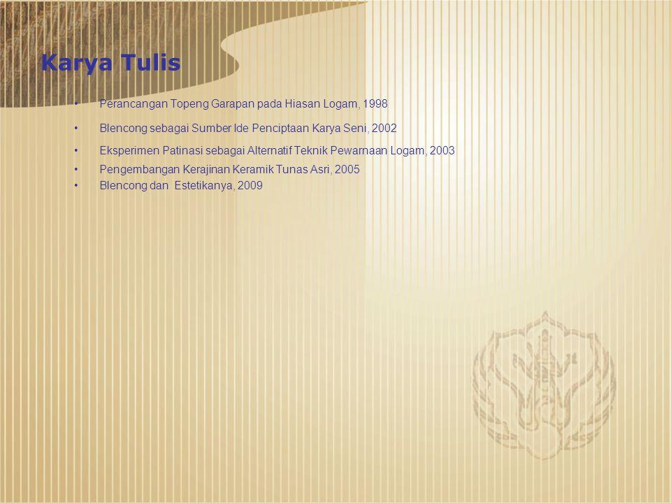 Karya Tulis Perancangan Topeng Garapan pada Hiasan Logam, 1998