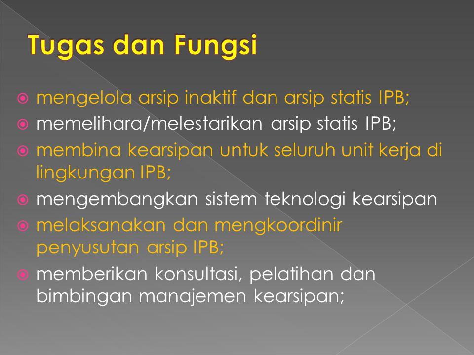 Tugas dan Fungsi mengelola arsip inaktif dan arsip statis IPB;