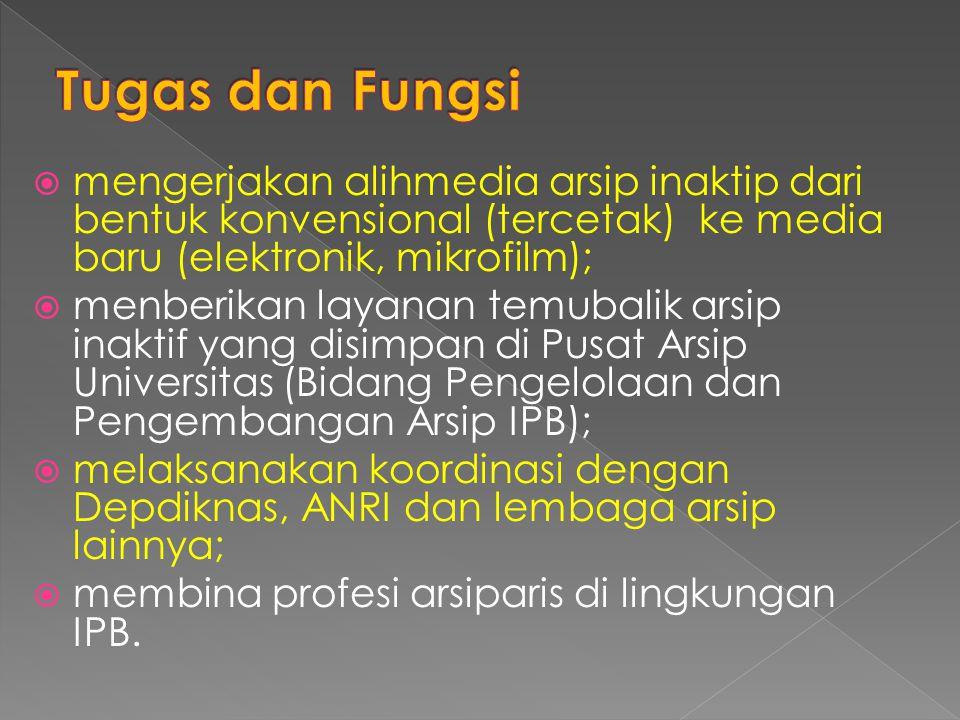 Tugas dan Fungsi mengerjakan alihmedia arsip inaktip dari bentuk konvensional (tercetak) ke media baru (elektronik, mikrofilm);