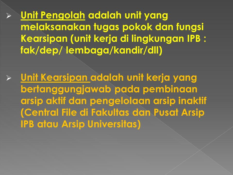 Unit Pengolah adalah unit yang melaksanakan tugas pokok dan fungsi Kearsipan (unit kerja di lingkungan IPB : fak/dep/ lembaga/kandir/dll)