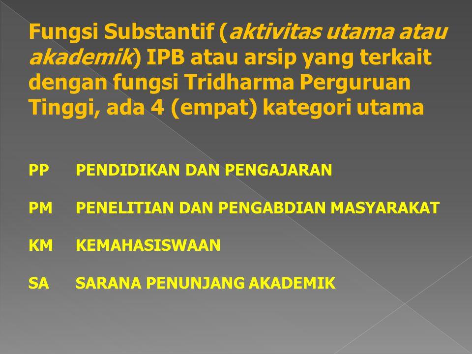 Fungsi Substantif (aktivitas utama atau akademik) IPB atau arsip yang terkait dengan fungsi Tridharma Perguruan Tinggi, ada 4 (empat) kategori utama