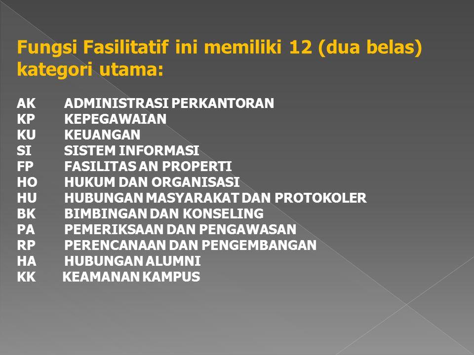 Fungsi Fasilitatif ini memiliki 12 (dua belas) kategori utama: