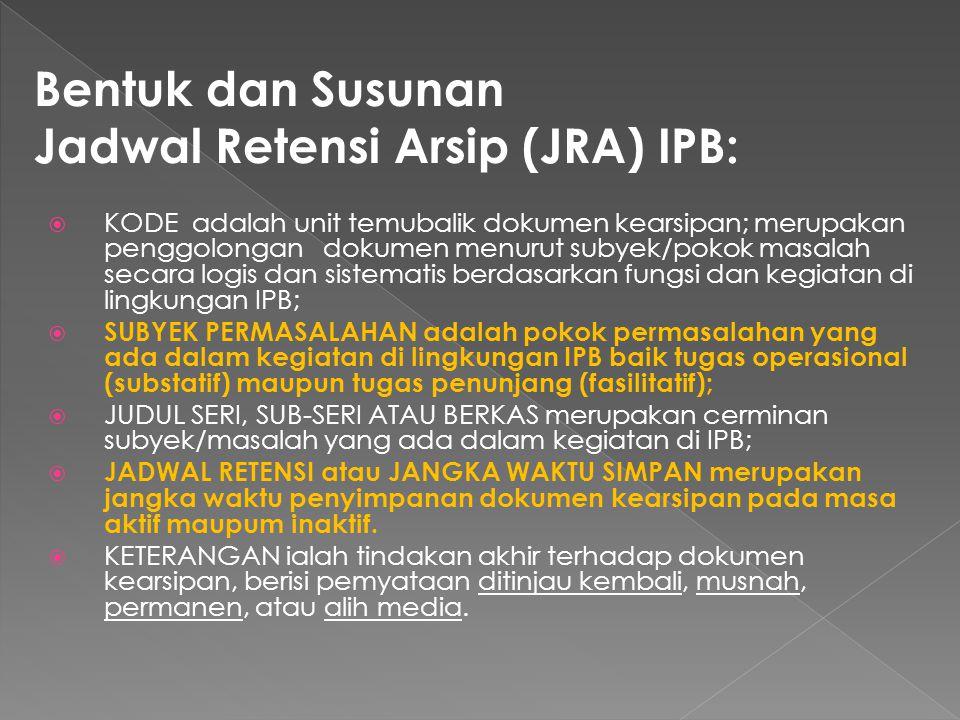 Jadwal Retensi Arsip (JRA) IPB:
