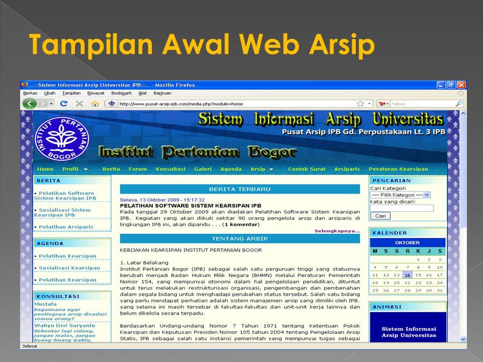 Tampilan Awal Web Arsip