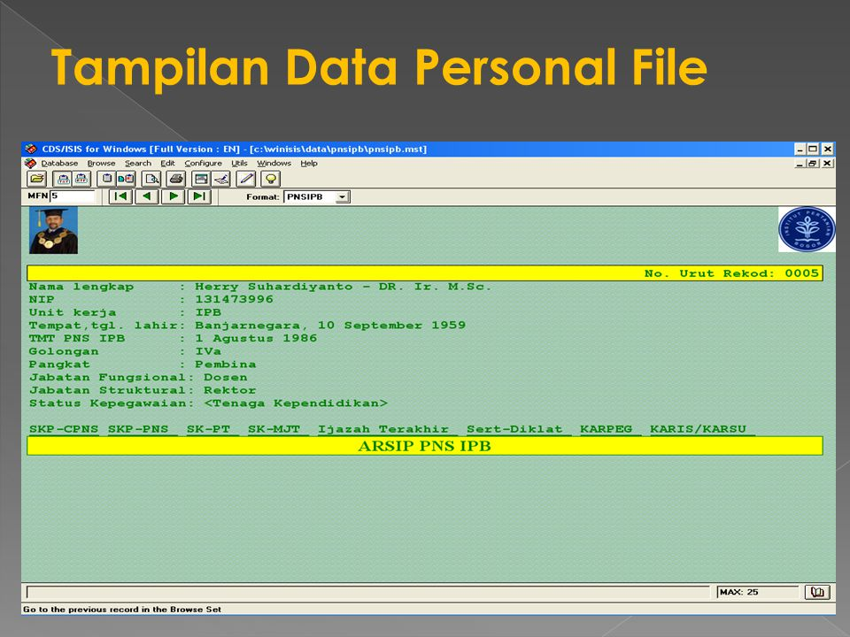 Tampilan Data Personal File