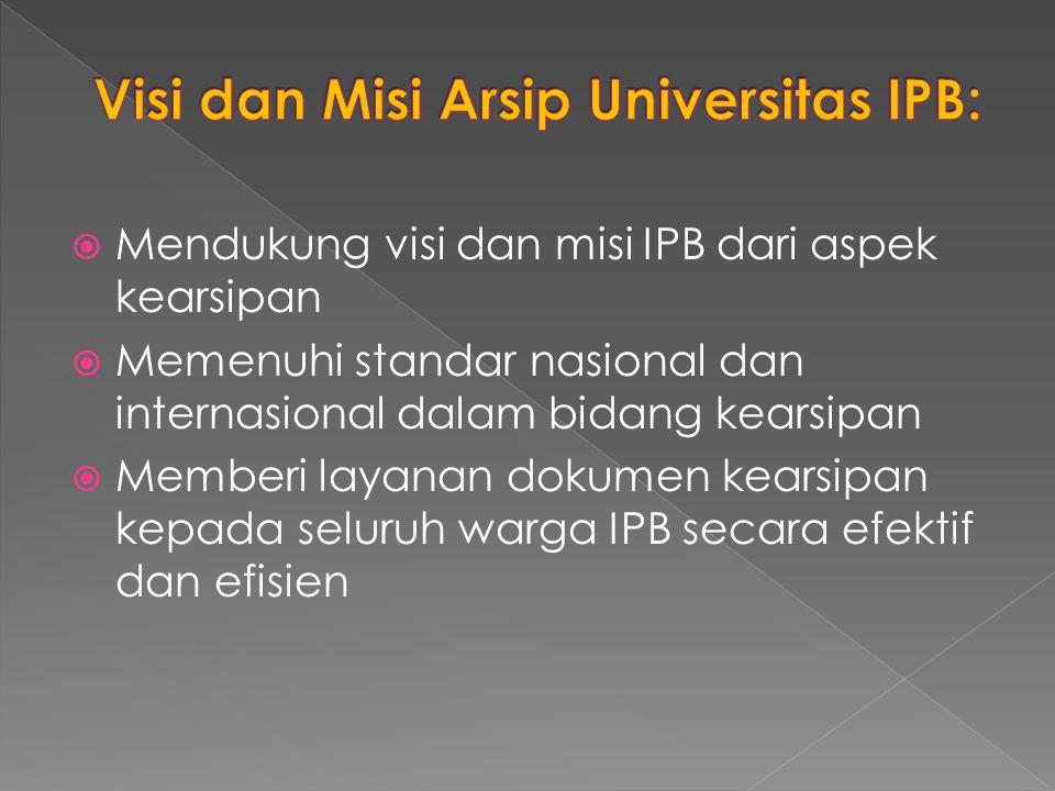 Visi dan Misi Arsip Universitas IPB: