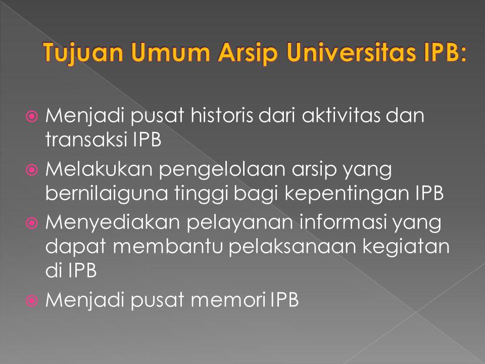 Tujuan Umum Arsip Universitas IPB: