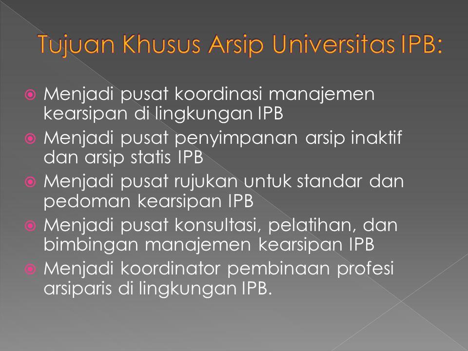 Tujuan Khusus Arsip Universitas IPB: