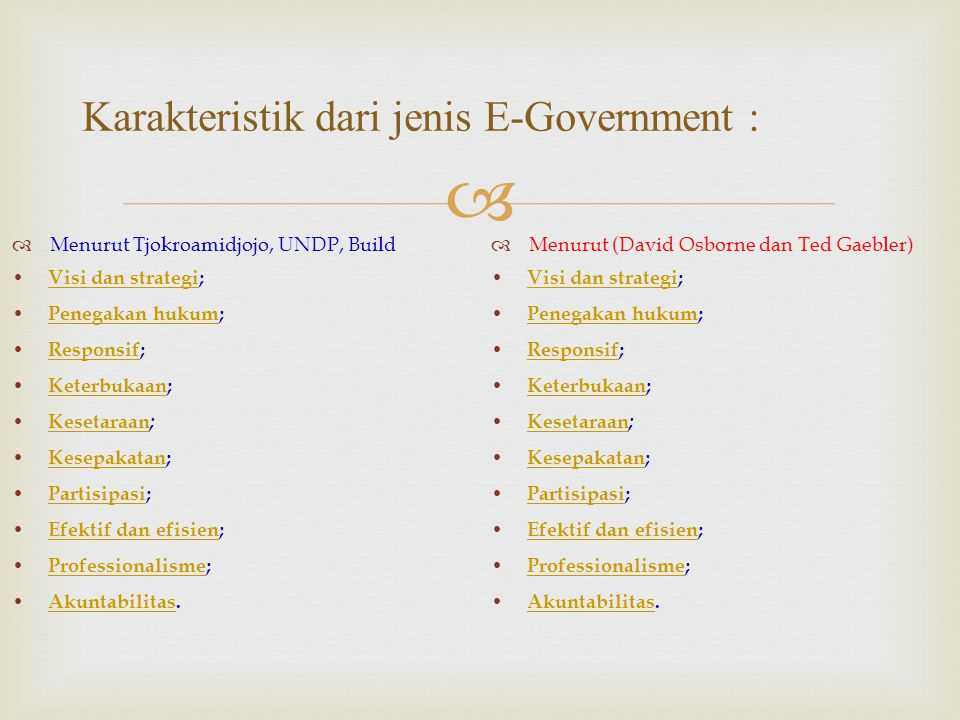Karakteristik dari jenis E-Government :