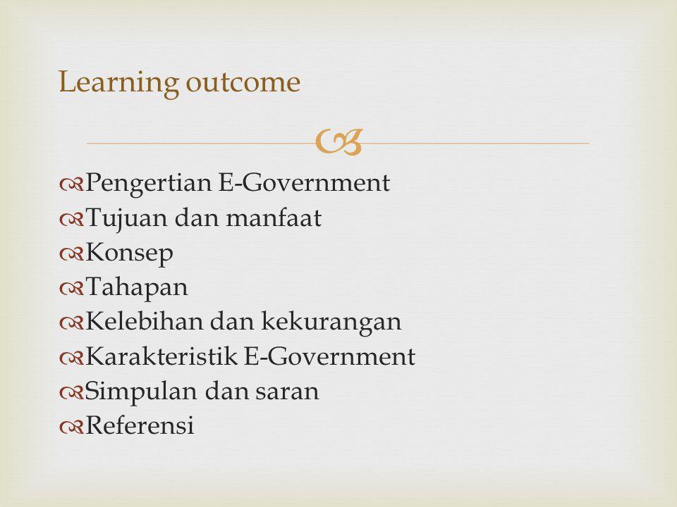 Learning outcome Pengertian E-Government Tujuan dan manfaat Konsep