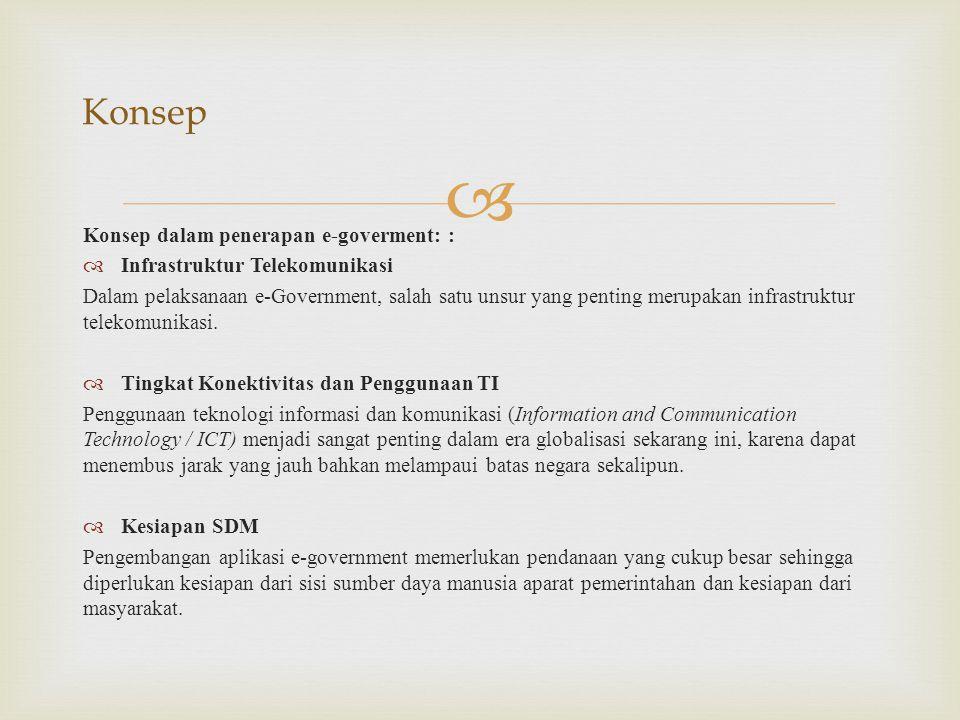 Konsep Konsep dalam penerapan e-goverment: :