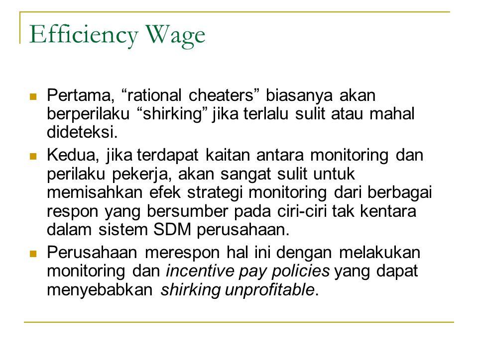 Efficiency Wage Pertama, rational cheaters biasanya akan berperilaku shirking jika terlalu sulit atau mahal dideteksi.