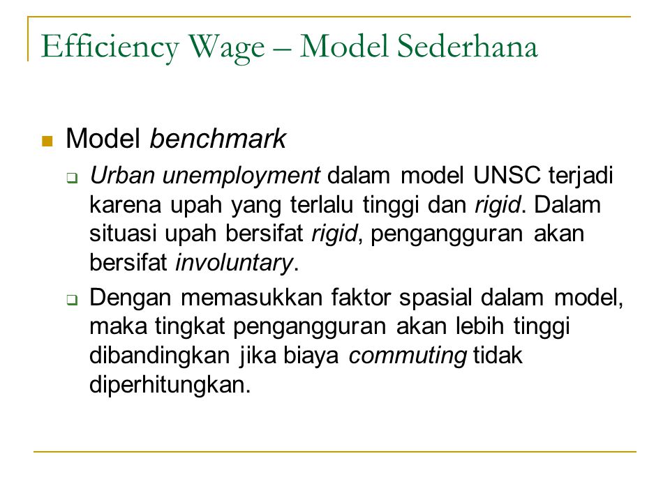 Efficiency Wage – Model Sederhana