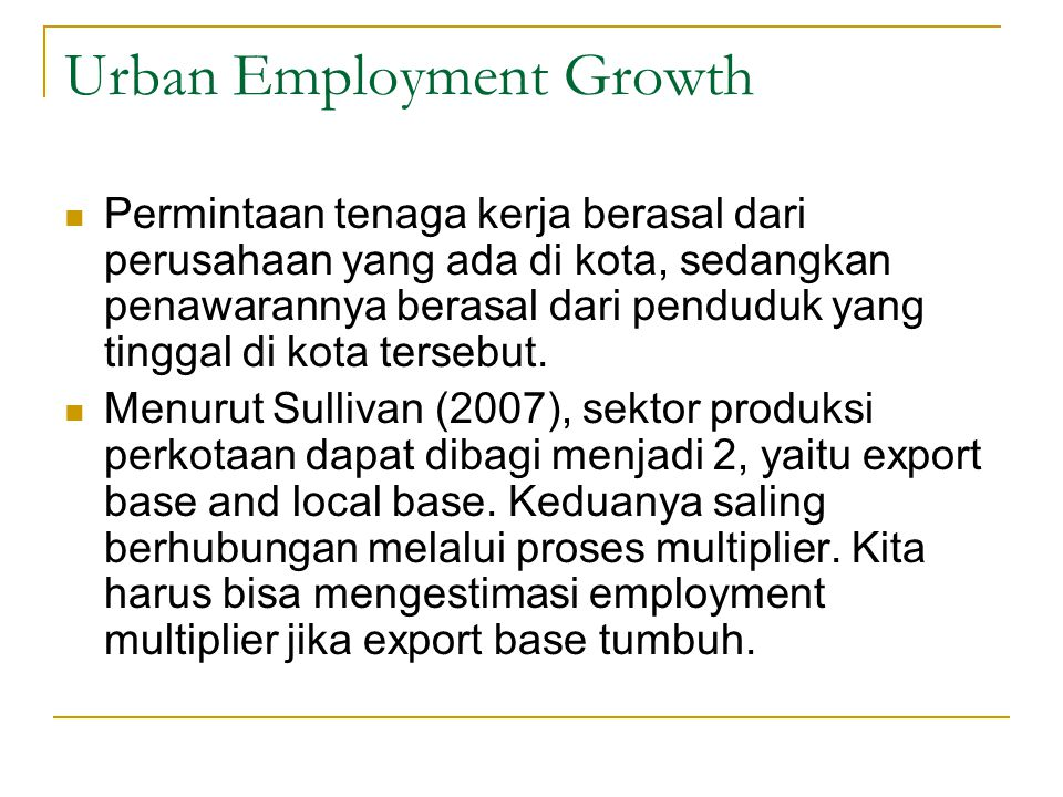 Urban Employment Growth