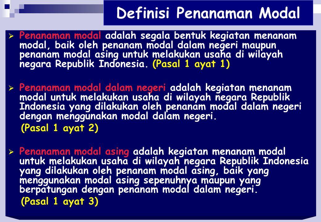 Definisi Penanaman Modal