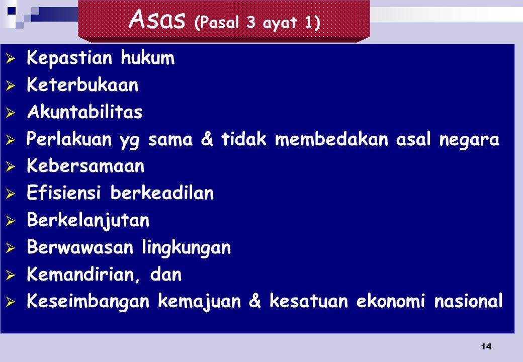 Asas (Pasal 3 ayat 1) Kepastian hukum Keterbukaan Akuntabilitas