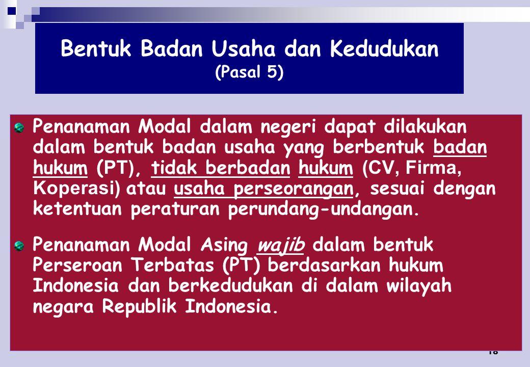 Bentuk Badan Usaha dan Kedudukan (Pasal 5)