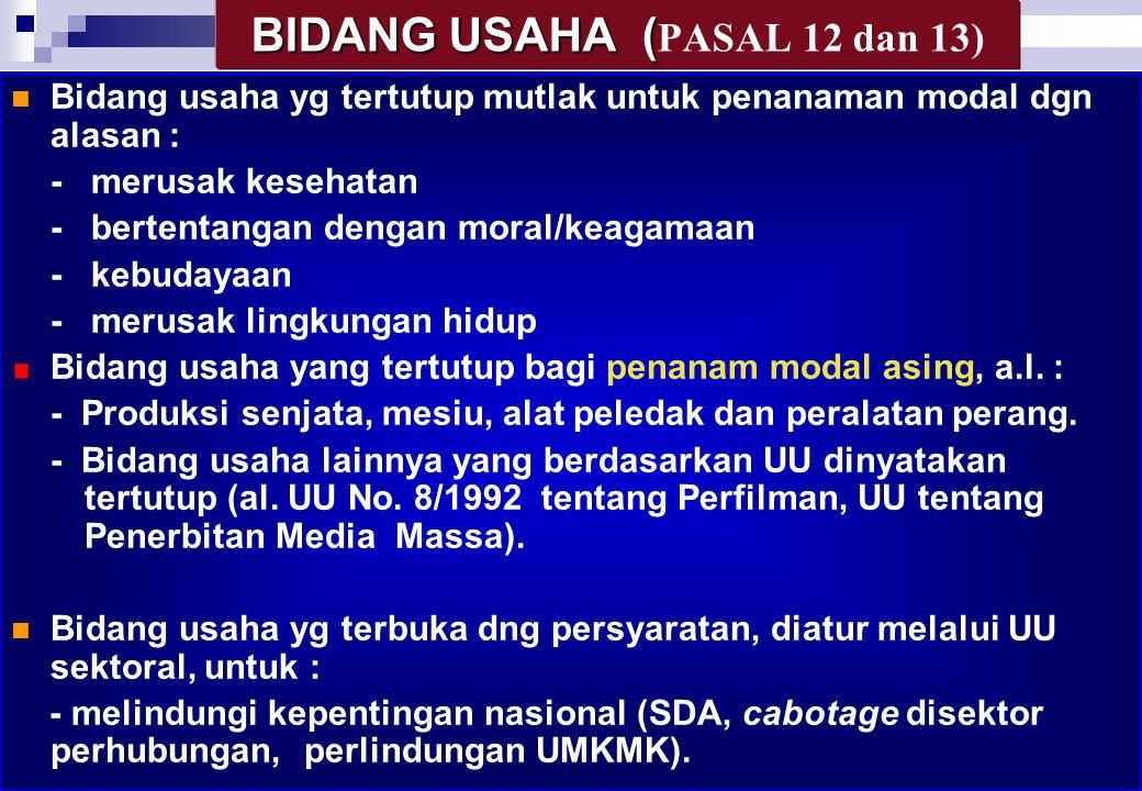 BIDANG USAHA (PASAL 12 dan 13)