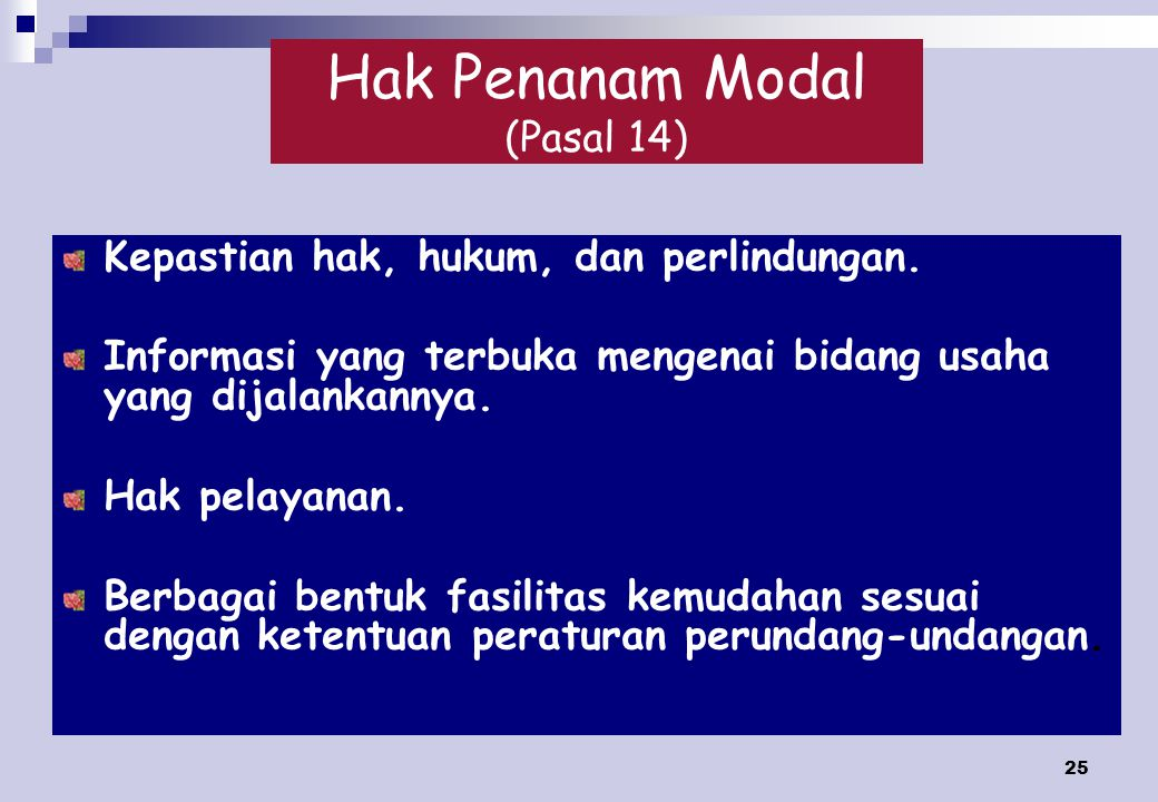 Hak Penanam Modal (Pasal 14)