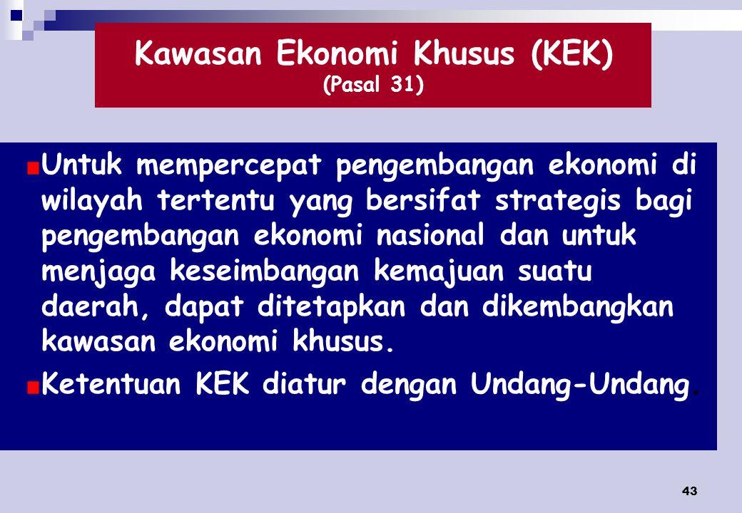 Kawasan Ekonomi Khusus (KEK) (Pasal 31)