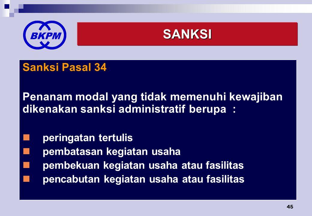 BKPM SANKSI. Sanksi Pasal 34. Penanam modal yang tidak memenuhi kewajiban dikenakan sanksi administratif berupa :