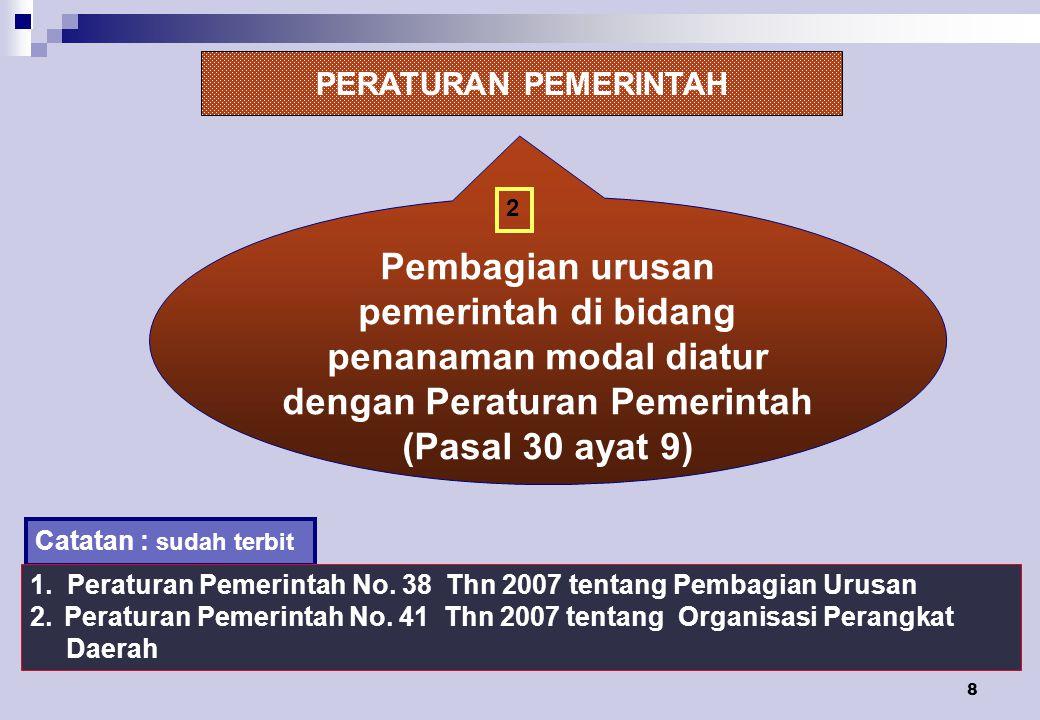 PERATURAN PEMERINTAH 2. Pembagian urusan pemerintah di bidang penanaman modal diatur dengan Peraturan Pemerintah (Pasal 30 ayat 9)
