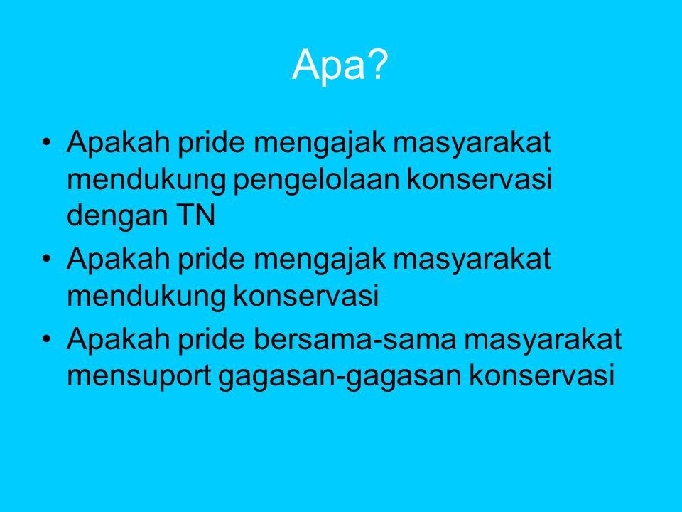 Apa Apakah pride mengajak masyarakat mendukung pengelolaan konservasi dengan TN. Apakah pride mengajak masyarakat mendukung konservasi.