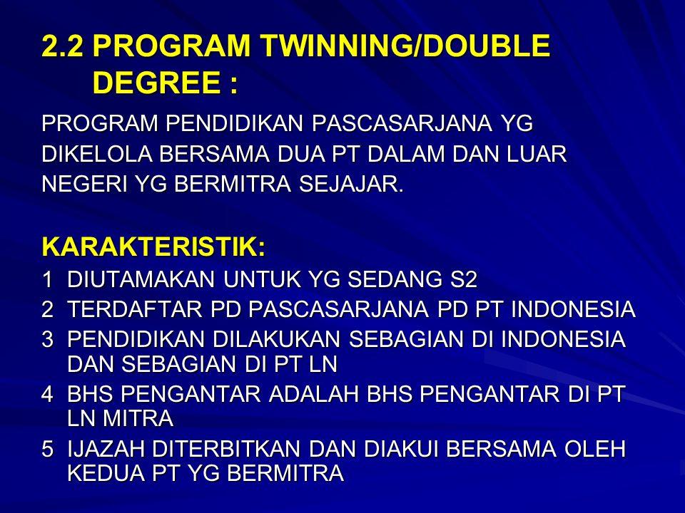 2.2 PROGRAM TWINNING/DOUBLE DEGREE :