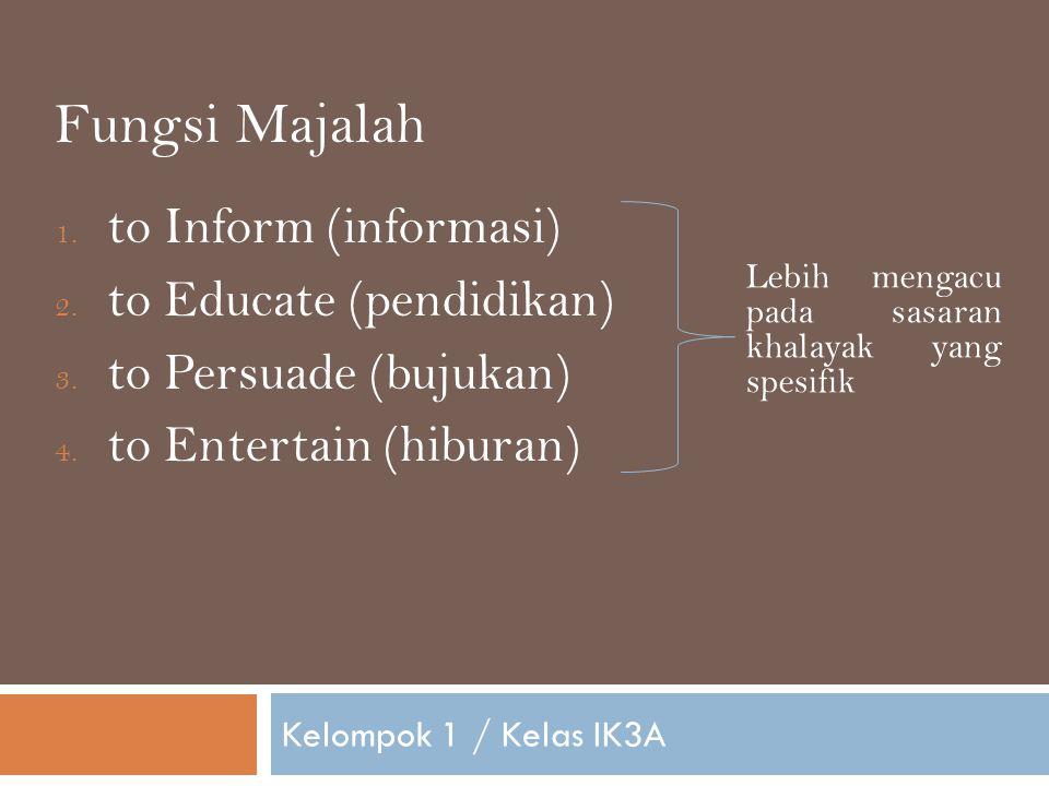 Fungsi Majalah to Inform (informasi) to Educate (pendidikan)