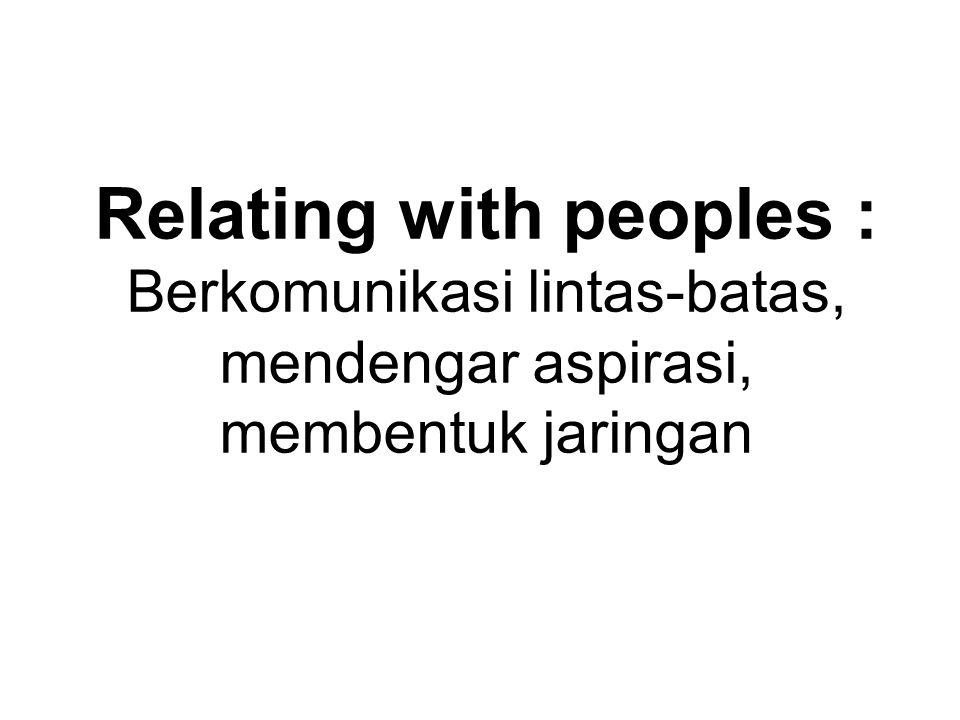 Relating with peoples : Berkomunikasi lintas-batas, mendengar aspirasi, membentuk jaringan
