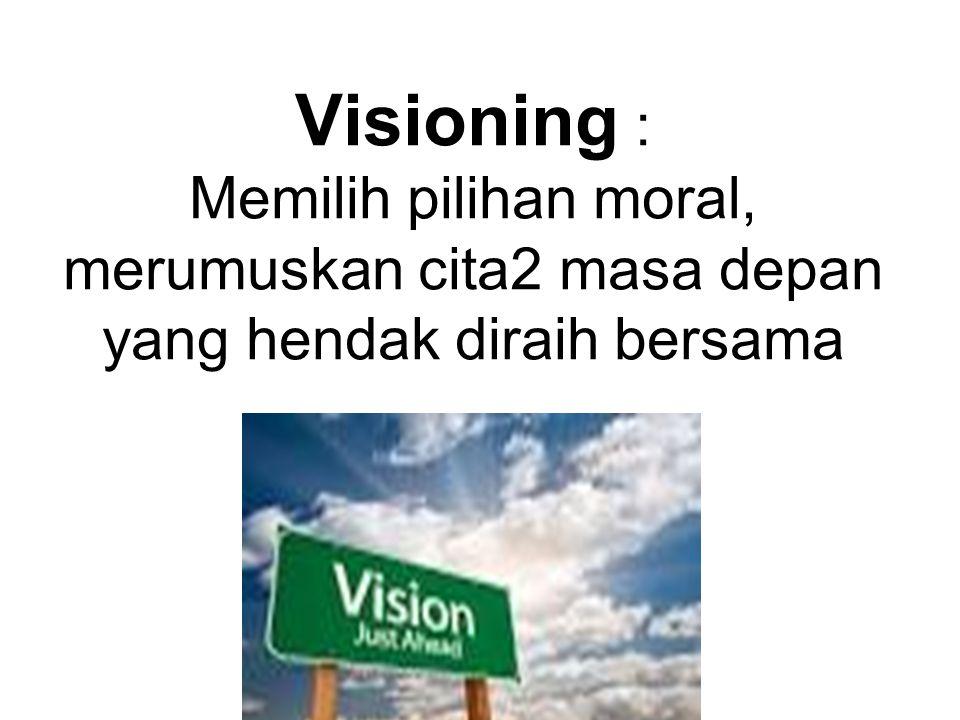 Visioning : Memilih pilihan moral, merumuskan cita2 masa depan yang hendak diraih bersama
