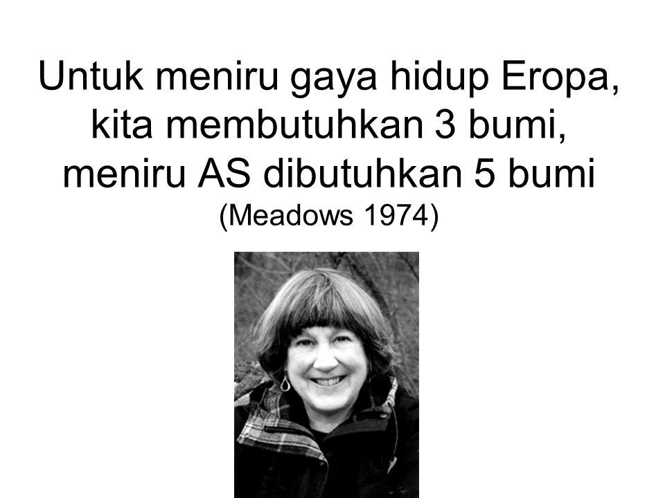 Untuk meniru gaya hidup Eropa, kita membutuhkan 3 bumi, meniru AS dibutuhkan 5 bumi (Meadows 1974)