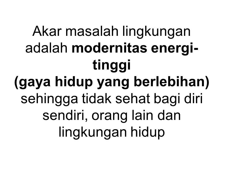 Akar masalah lingkungan adalah modernitas energi-tinggi (gaya hidup yang berlebihan) sehingga tidak sehat bagi diri sendiri, orang lain dan lingkungan hidup
