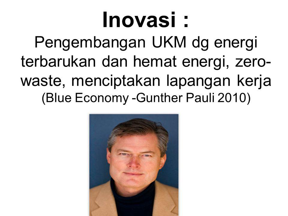 Inovasi : Pengembangan UKM dg energi terbarukan dan hemat energi, zero-waste, menciptakan lapangan kerja (Blue Economy -Gunther Pauli 2010)