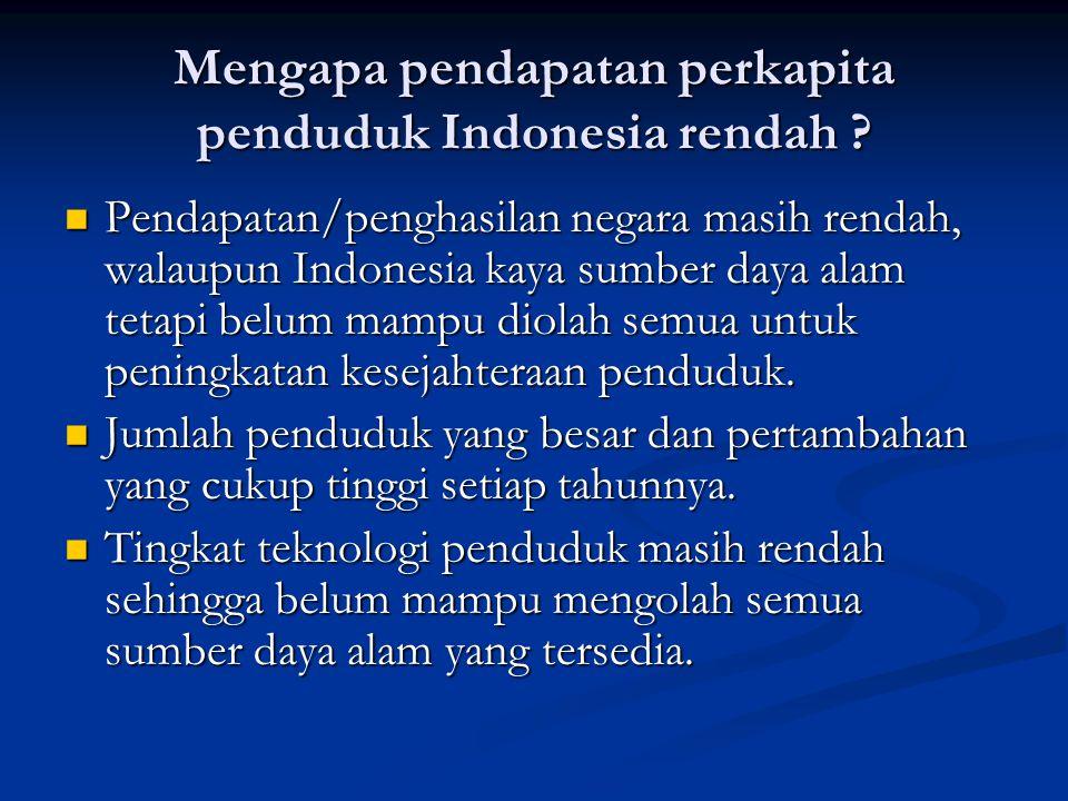 Mengapa pendapatan perkapita penduduk Indonesia rendah