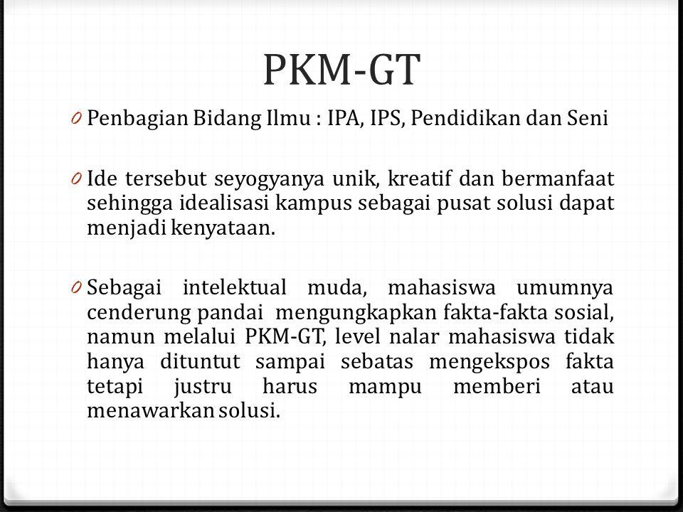 PKM-GT Penbagian Bidang Ilmu : IPA, IPS, Pendidikan dan Seni