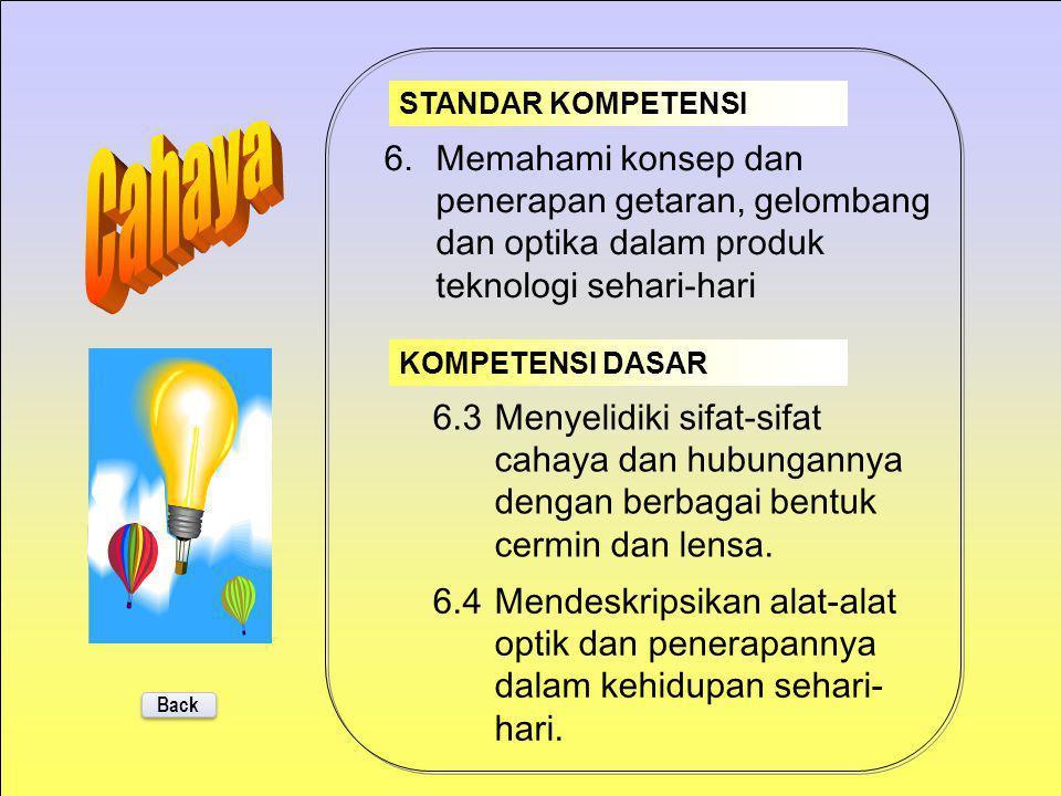STANDAR KOMPETENSI Cahaya. 6. Memahami konsep dan penerapan getaran, gelombang dan optika dalam produk teknologi sehari-hari.