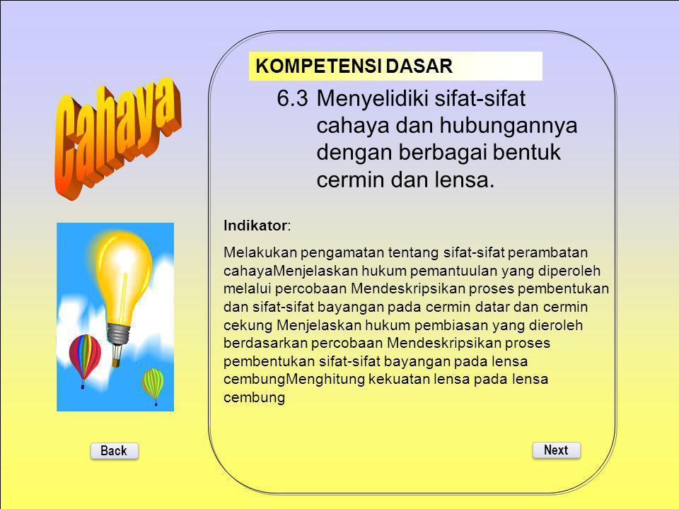 KOMPETENSI DASAR Cahaya. 6.3 Menyelidiki sifat-sifat cahaya dan hubungannya dengan berbagai bentuk cermin dan lensa.