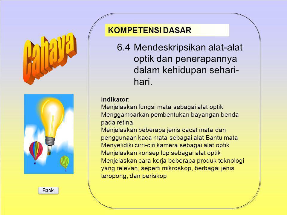 KOMPETENSI DASAR Cahaya. 6.4 Mendeskripsikan alat-alat optik dan penerapannya dalam kehidupan sehari-hari.