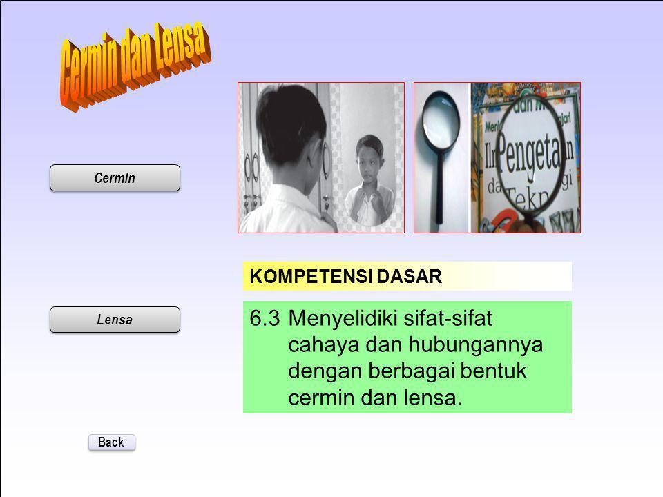 Cermin dan Lensa Cermin. KOMPETENSI DASAR. 6.3 Menyelidiki sifat-sifat cahaya dan hubungannya dengan berbagai bentuk cermin dan lensa.