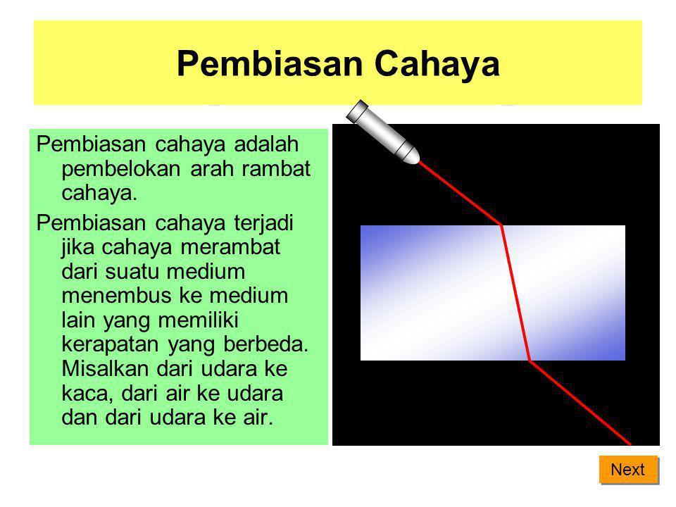 Pembiasan Cahaya Pembiasan cahaya adalah pembelokan arah rambat cahaya.