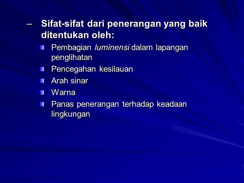 Sifat-sifat dari penerangan yang baik ditentukan oleh: