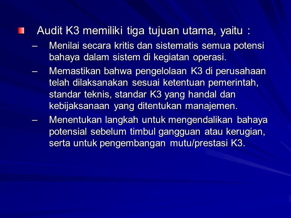 Audit K3 memiliki tiga tujuan utama, yaitu :