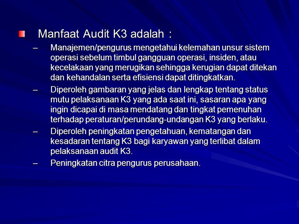 Manfaat Audit K3 adalah :