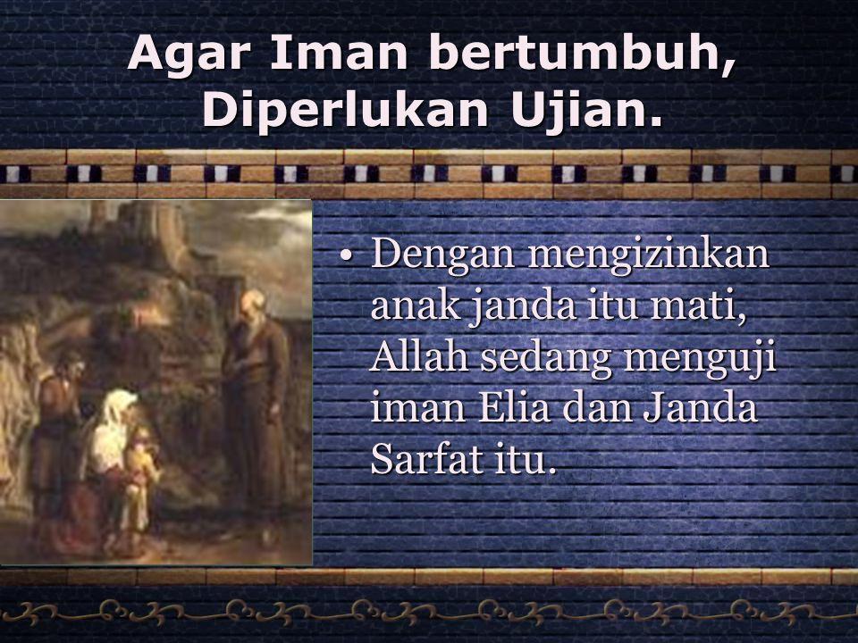 Agar Iman bertumbuh, Diperlukan Ujian.