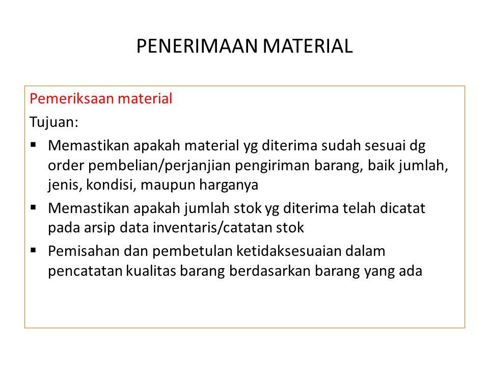 PENERIMAAN MATERIAL Pemeriksaan material Tujuan: