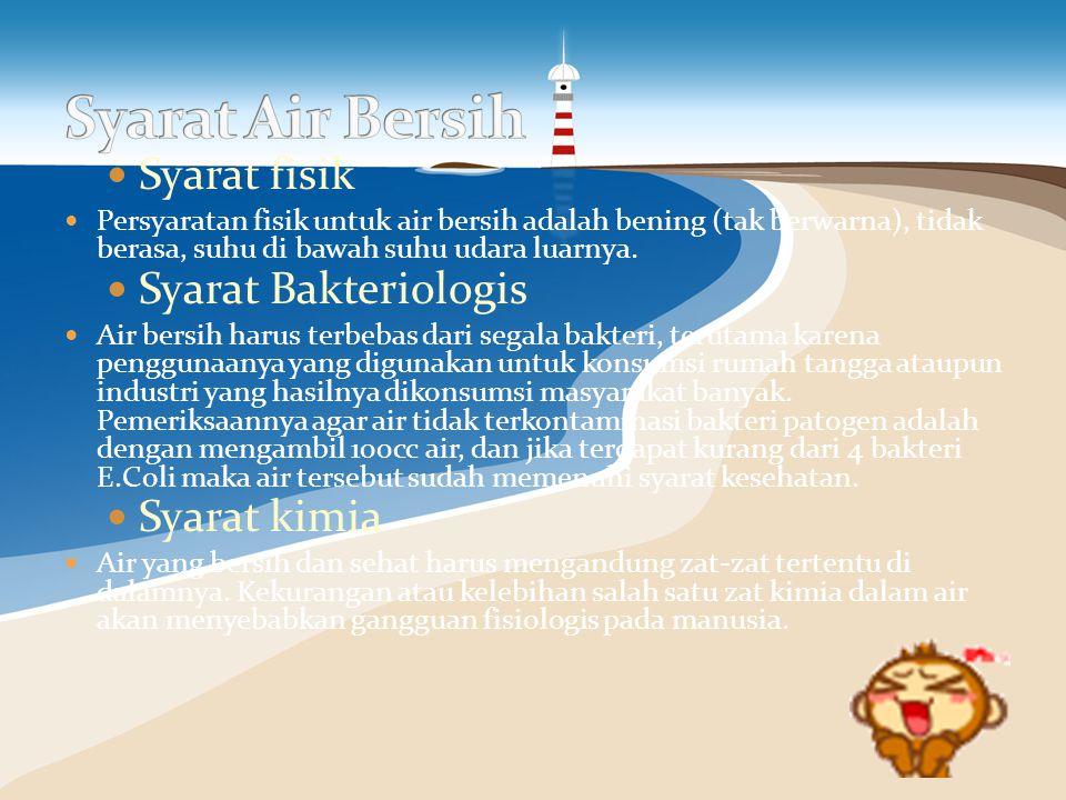 Syarat Air Bersih Syarat fisik Syarat Bakteriologis Syarat kimia