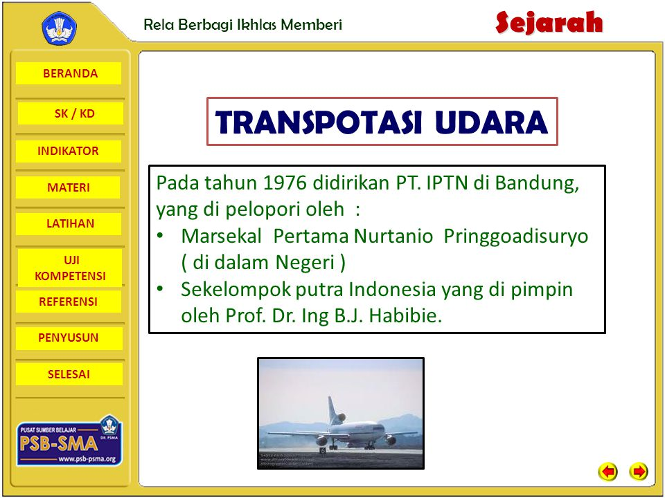 TRANSPOTASI UDARA Pada tahun 1976 didirikan PT. IPTN di Bandung, yang di pelopori oleh :